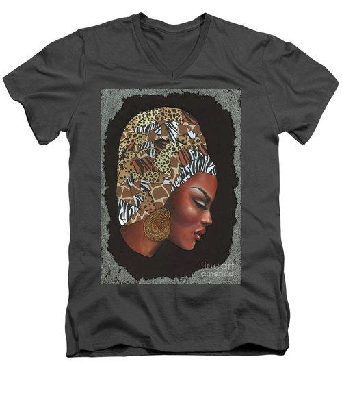 Men's V-Neck T-Shirt featuring the mixed media Contemplation Too by Alga Washington