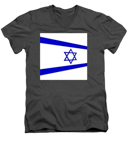 Contemporary Flag Of Israel Men's V-Neck T-Shirt