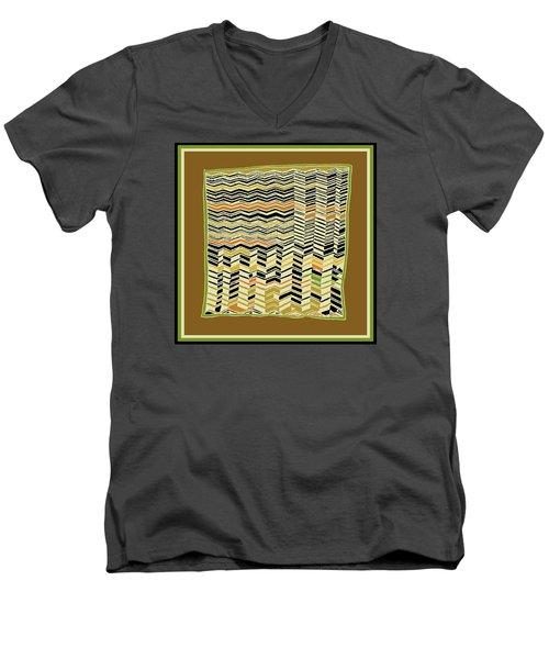 Men's V-Neck T-Shirt featuring the digital art Contemporary Kuba Cloth by Vagabond Folk Art - Virginia Vivier