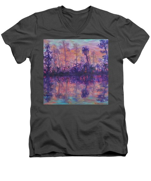 Contemporary Nature Painting Tropical Lake Sunset Men's V-Neck T-Shirt