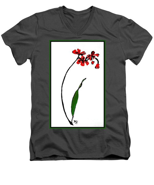 Men's V-Neck T-Shirt featuring the painting Contemporary Orchids by Marsha Heiken