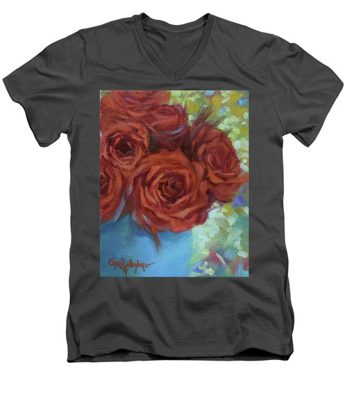 Contemporary Red Roses With Confetti Background Men's V-Neck T-Shirt