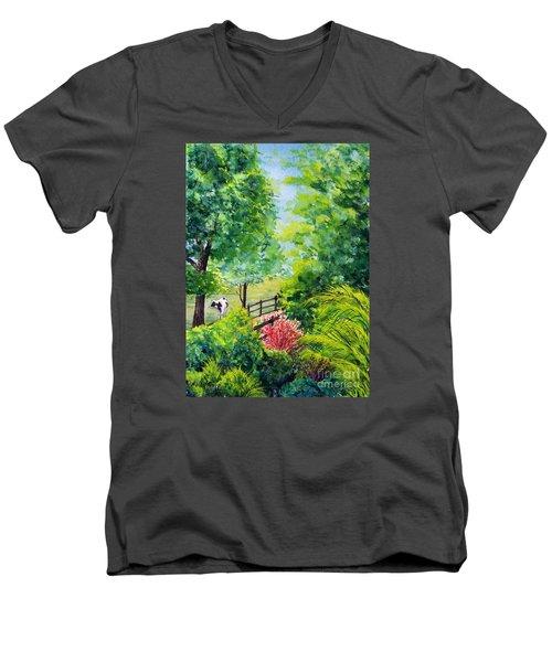 Contentment Men's V-Neck T-Shirt by Nancy Cupp