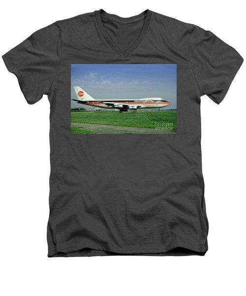 Continental Airlines Boeing 747-243b, N605pe, October 1988 Men's V-Neck T-Shirt