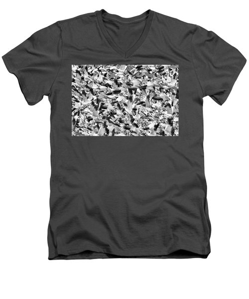 Men's V-Neck T-Shirt featuring the photograph Controlled Chaos Bw by Everet Regal