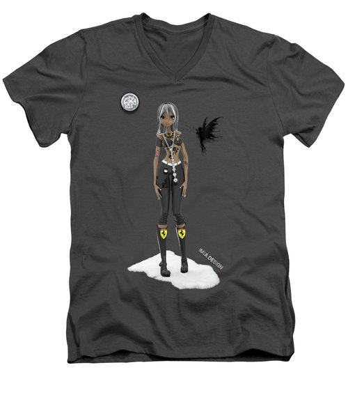 Cool 3d Manga  Girl With Bling And Tattoos In Black Men's V-Neck T-Shirt