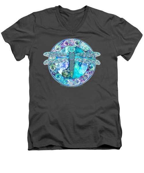 Men's V-Neck T-Shirt featuring the mixed media Cool Celtic Dragonfly by Kristen Fox