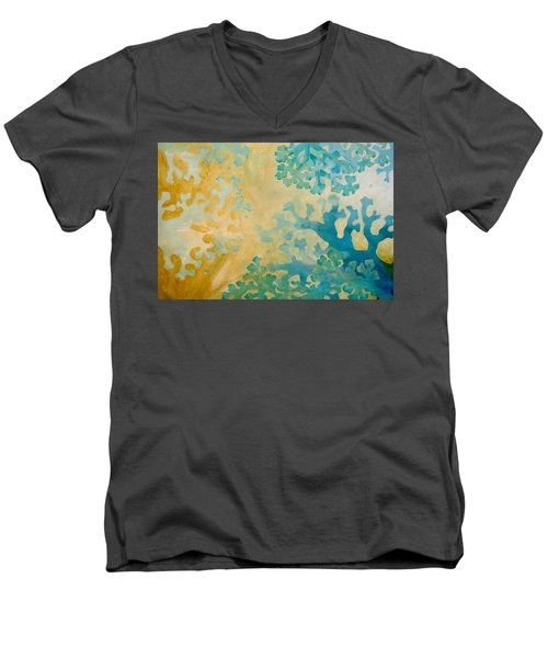Cool Coral Men's V-Neck T-Shirt by Dina Dargo