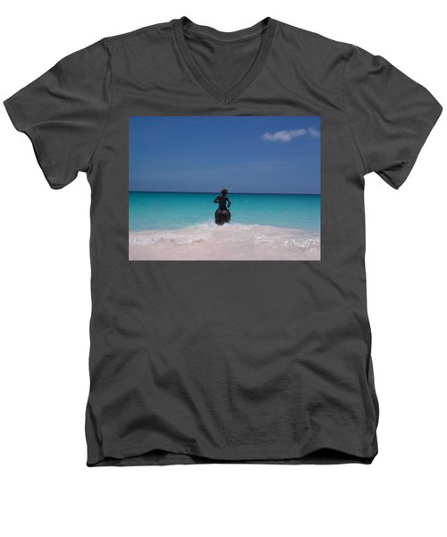Men's V-Neck T-Shirt featuring the photograph Cool Off Man by Mary-Lee Sanders