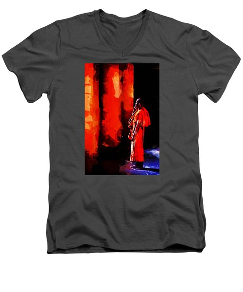 Men's V-Neck T-Shirt featuring the digital art Cool Orange Monk by Cameron Wood