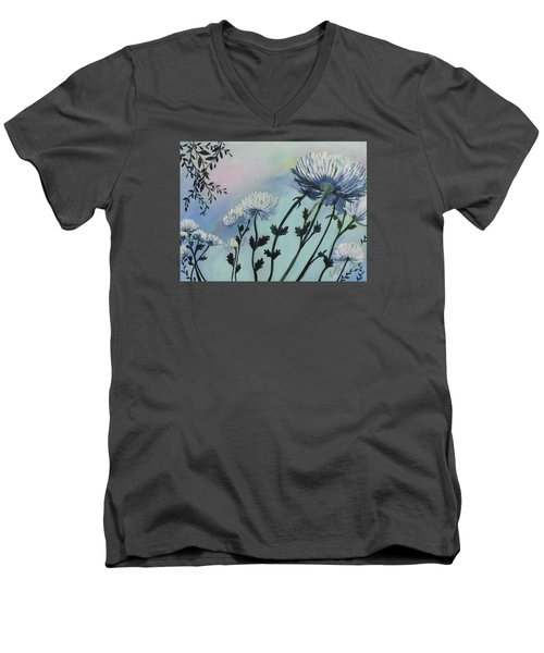 Cool White Spider Mums Men's V-Neck T-Shirt