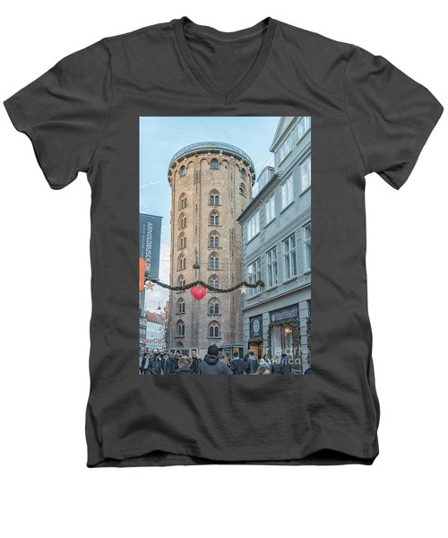 Men's V-Neck T-Shirt featuring the photograph Copenhagen Round Tower Street View by Antony McAulay
