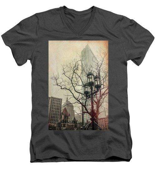 Men's V-Neck T-Shirt featuring the photograph Copley Square - Boston by Joann Vitali