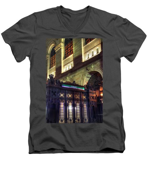 Men's V-Neck T-Shirt featuring the photograph Copley Square T Stop - Boston by Joann Vitali