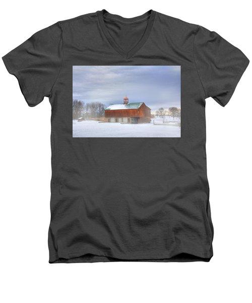 Men's V-Neck T-Shirt featuring the digital art Copper Cupola by Sharon Batdorf