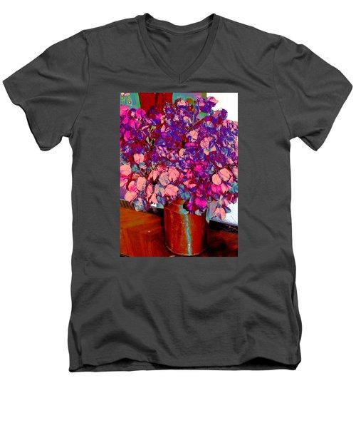 Copper Vase Floral Men's V-Neck T-Shirt by M Diane Bonaparte