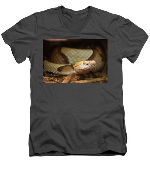 Men's V-Neck T-Shirt featuring the digital art Copperhead by Chris Flees