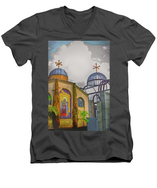 Coptic Church Rebirth Men's V-Neck T-Shirt by Joseph Hollingsworth