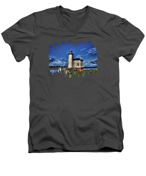 Men's V-Neck T-Shirt featuring the photograph Coquille River Lighthouse by Thom Zehrfeld