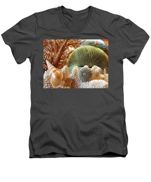 Coral And Shells Men's V-Neck T-Shirt by Trena Mara