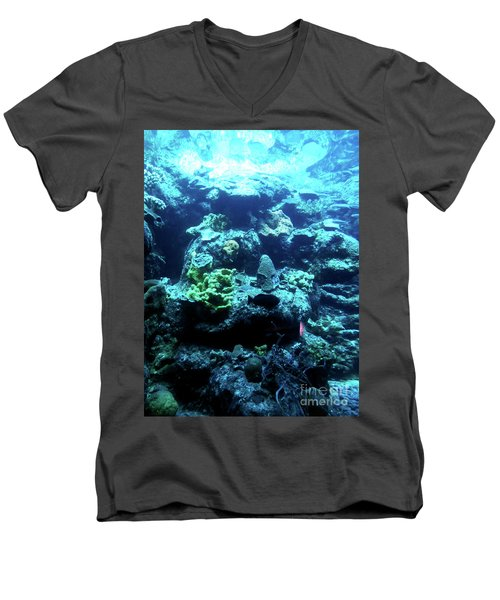 Men's V-Neck T-Shirt featuring the photograph Coral Art 4 by Francesca Mackenney