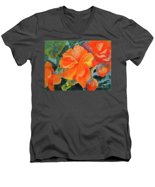 Men's V-Neck T-Shirt featuring the painting Coral Begonias by Kathy Braud