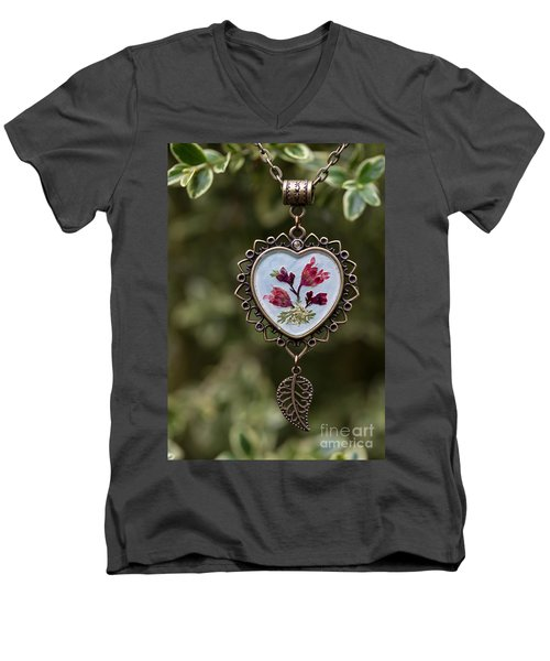 Coral Bell Pressed Flower Pendant Men's V-Neck T-Shirt