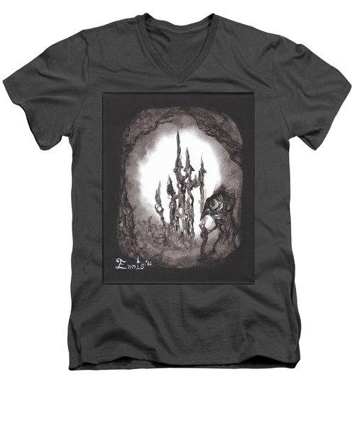 Men's V-Neck T-Shirt featuring the painting Coral Castle by Christophe Ennis