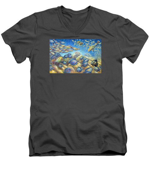 Men's V-Neck T-Shirt featuring the painting Coral Reef Life Silvers by Nancy Tilles