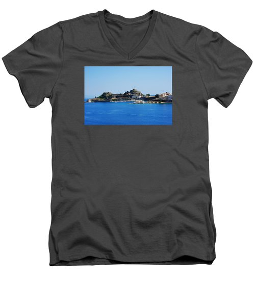 Men's V-Neck T-Shirt featuring the photograph Corfu Fortress On Blue Water by Robert Moss