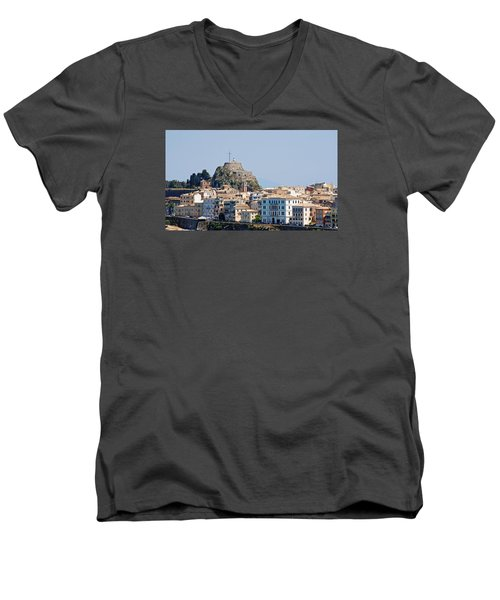Men's V-Neck T-Shirt featuring the photograph Corfu Old Fortress by Robert Moss