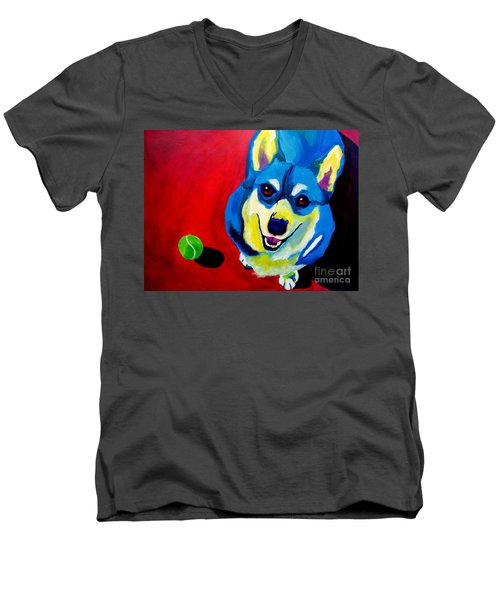 Corgi - Play Ball Men's V-Neck T-Shirt