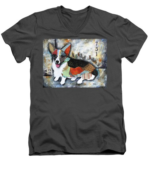 Corgi 2 Men's V-Neck T-Shirt by Patricia Lintner
