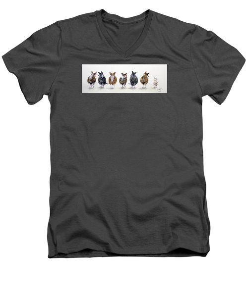 Corgi Butt Lineup With Chihuahua Men's V-Neck T-Shirt by Patricia Lintner