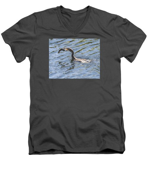Cormorant Caught Fish Men's V-Neck T-Shirt