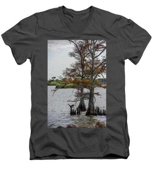 Men's V-Neck T-Shirt featuring the photograph Cormorant by Paul Freidlund