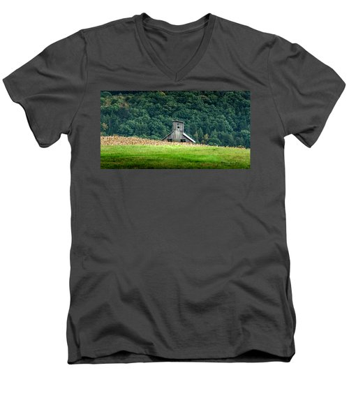Men's V-Neck T-Shirt featuring the photograph Corn Field Silo by Marvin Spates