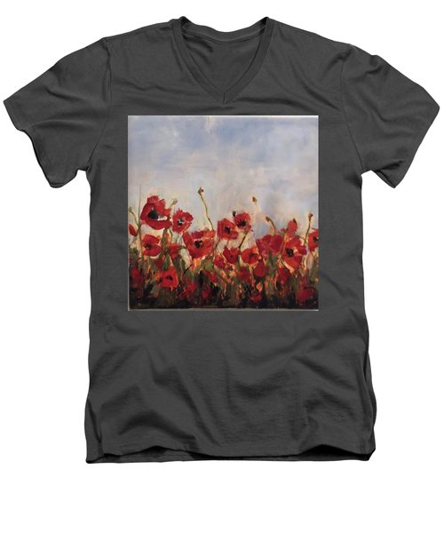 Corn Poppies In Remembrance Men's V-Neck T-Shirt