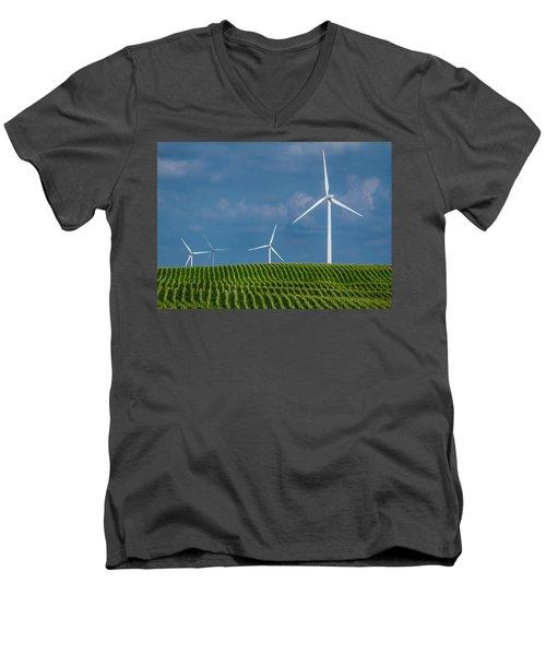 Corn Rows And Windmills Men's V-Neck T-Shirt