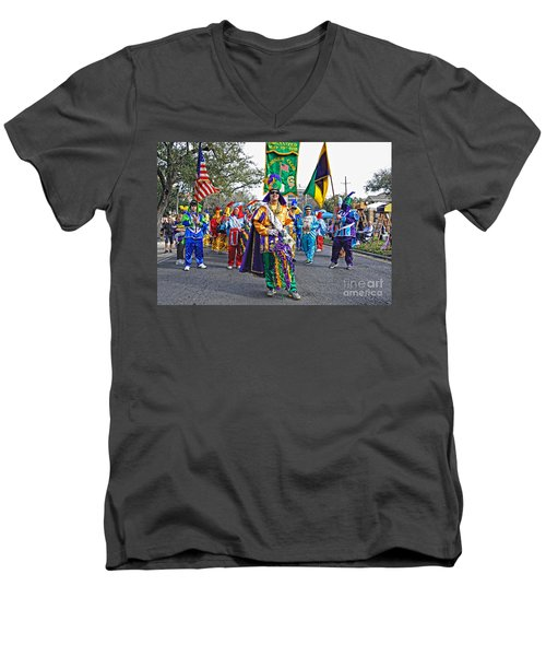 Corner Club 3 -mardi Gras New Orleans Men's V-Neck T-Shirt by Kathleen K Parker