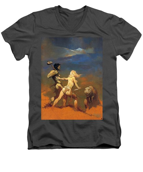 Men's V-Neck T-Shirt featuring the painting Cornered by Frank Frazetta