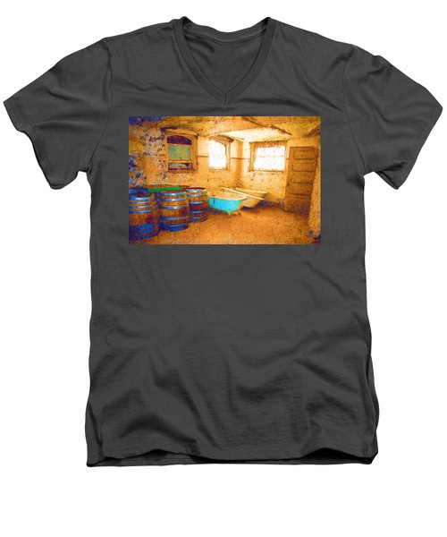 Men's V-Neck T-Shirt featuring the digital art Cornered by Holly Ethan
