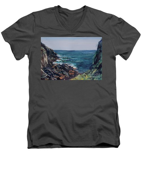 Cornish Clffs Men's V-Neck T-Shirt by Genevieve Brown