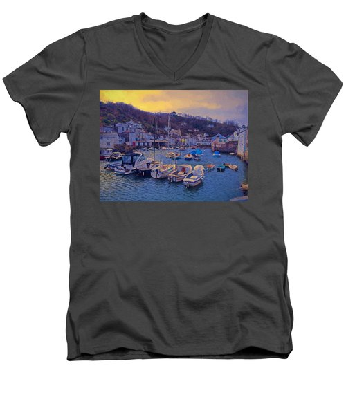 Cornish Fishing Village Men's V-Neck T-Shirt by Paul Gulliver
