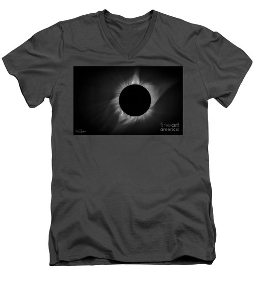 Corona During Total Solar Eclipse Men's V-Neck T-Shirt