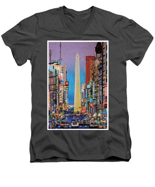 Corrientes Avenue Men's V-Neck T-Shirt by Bernardo Galmarini