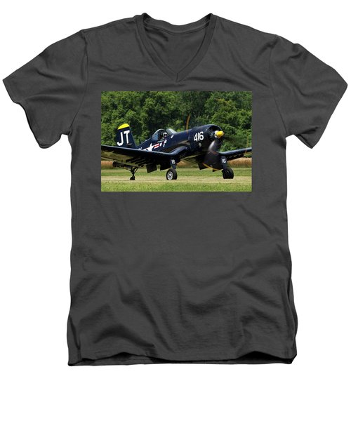 Men's V-Neck T-Shirt featuring the photograph Corsair Close-up by Peter Chilelli