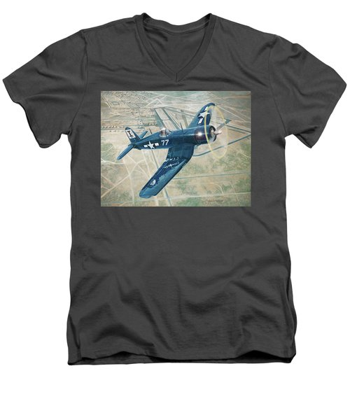 Corsair Over Mojave Men's V-Neck T-Shirt by Douglas Castleman