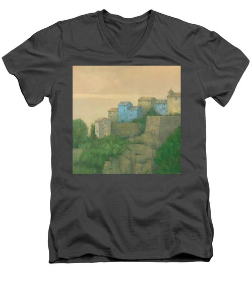 Corsican Hill Top Village Men's V-Neck T-Shirt by Steve Mitchell