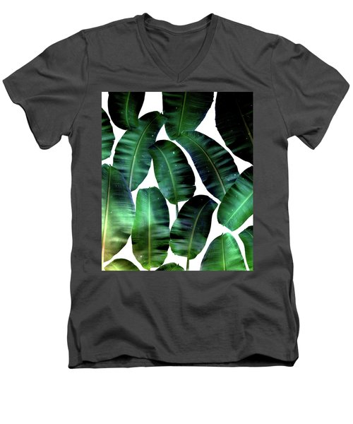 Cosmic Banana Leaves Men's V-Neck T-Shirt by Uma Gokhale